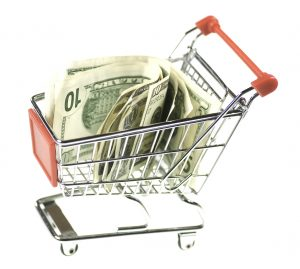 shopping cart with money, savings, BaZing